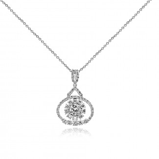 18K W/G Round-Cut Diamond Burst Pendant