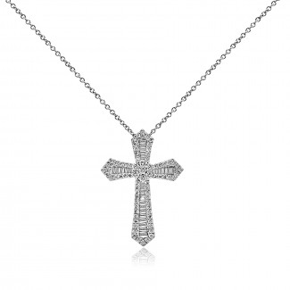 14k w/g baguette and round diamond cross pendant