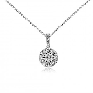 14k w/g brilliant round-cut diamond cluster pendant