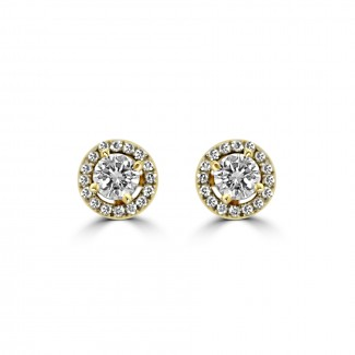 14K Y/G DIAMOND HALO STUD EARRINGS