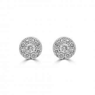 14k w/g diamond halo bezel stud earrings