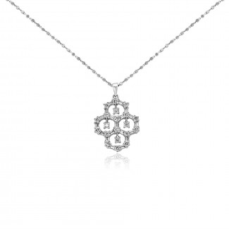 18k w/g mini diamond chandelier necklace