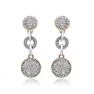 14k two tone w/g & r/g diamond drop earrings
