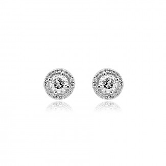 14k w/g diamond halo stud earrings