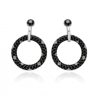 14k W/G Black Sapphire and White Diamond Earrings