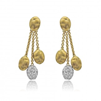 18k y/g diamond bean drop earrings