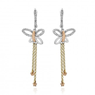 14k R/G & W/G Two-Toned Butterfly Diamond Earrings