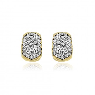 14k y/g diamond huggie earrings