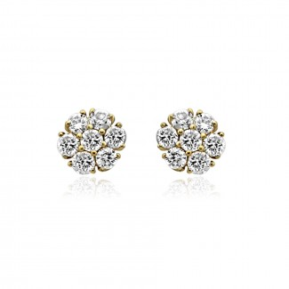 14k y/g scalloped cluster diamond stud earrings