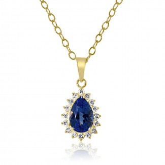 14k y/g pear blue topaz and diamond pendant 3.00ctw