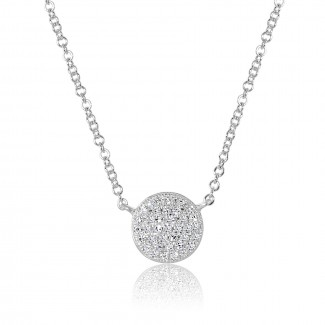 14K W/G Pave Diamond Disc Necklace