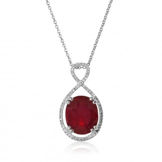 14k w/g floating oval ruby and diamond necklace