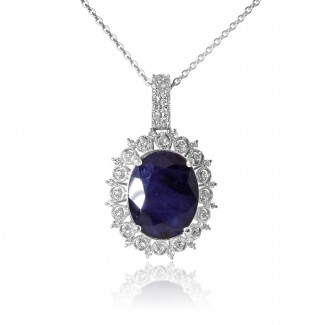 14k w/g oval sapphire diamond necklace with milgrain borders