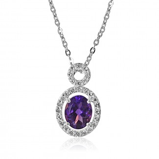 14k w/g floating oval tanzanite halo pendant