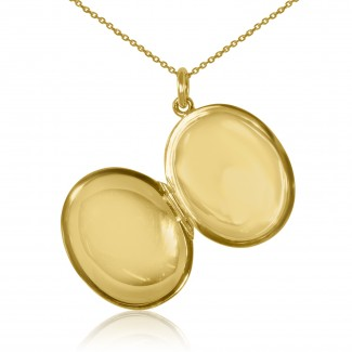 14k y/g vintage oval locket pendant