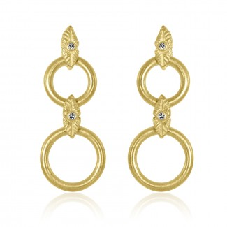 18k y/g vintage double hoop leaf diamond earrings