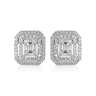 14k w/g baguette diamond stud earrings
