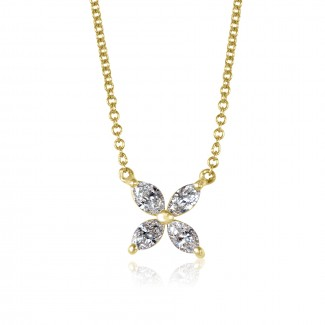 14k y/g marquise diamond butterfly pendant
