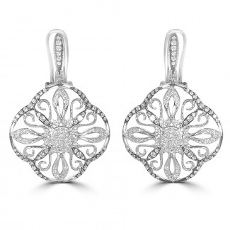 14k w/g diamond earrings with black accent
