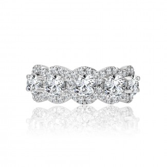 14k w/g 5-stone round diamond halo band 2.00ctw