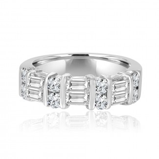 14k w/g round & baguette diamond band 1.25ctw
