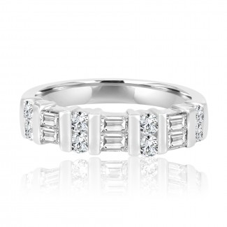 14k w/g round & baguette diamond band 1.00ctw