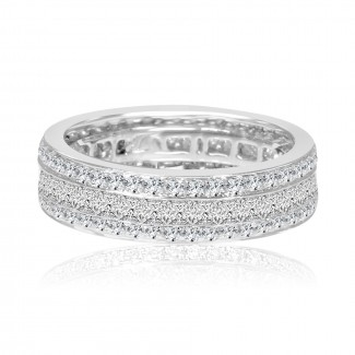 18k w/g diamond 3-row eternity band 2.00ctw