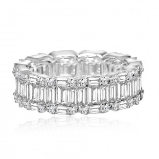 18k w/g round & baguette diamond eternity band 4.00ctw