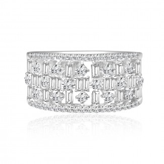 18k w/g baguette & round diamond band 1.00ctw