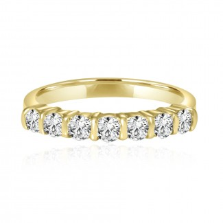 14k y/g 7-stone diamond band