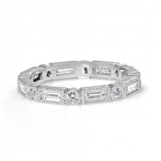 18k w/g round & baguette diamond eternity band 1.42ctw