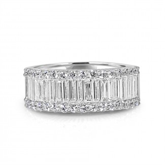 18k w/g round & baguette diamond band 1.50ctw