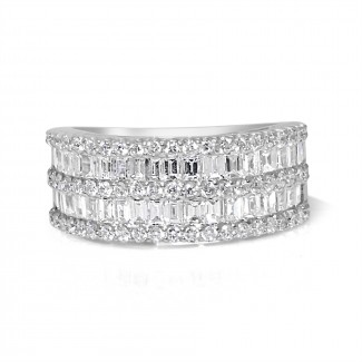 18k w/g round & baguette double row diamond band 2.00ctw