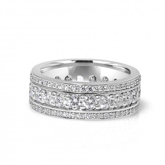 14k w/g channel 3-row eternity band 2.10ctw