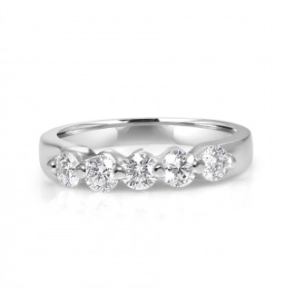 14k w/g 5-stone diamond band 1.25ctw