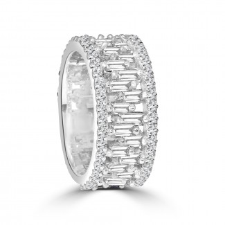 18k w/g round & baguette diamond eternity band 2.50ctw