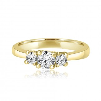 14k y/g 3-stone round diamond solitaire engagement ring