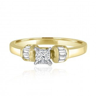 14k y/g princess solitaire diamond engagement ring