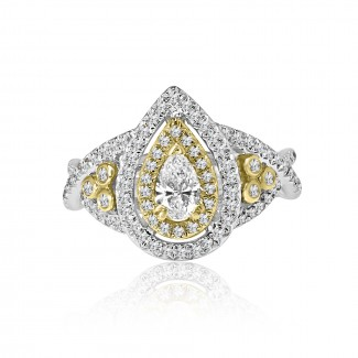 14k 2-tone pear double halo diamond engagement ring 1.00ctw