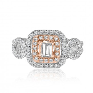 14k 2-tone emerald cut double halo diamond engagement ring 0.65ctw
