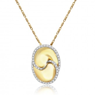 14k y/g interlocking gold and diamonds necklace