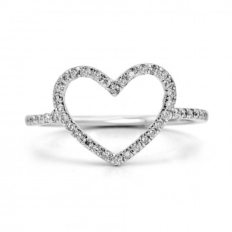 14k w/g open heart diamond ring