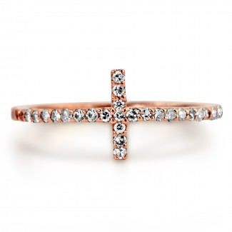 14K R/G DIAMOND HORIZONTAL CROSS FASHION RING