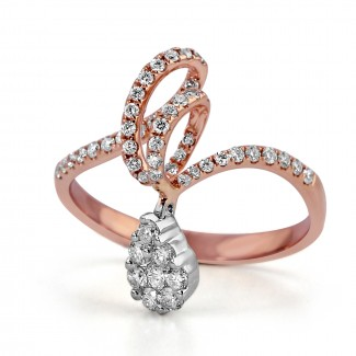14k r/g diamond dangle fashion ring