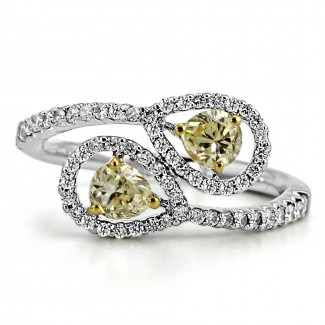 14k w/g overlapping pears diamond ring