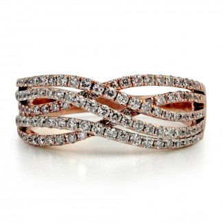 14k r/g diamond pave fashion ring