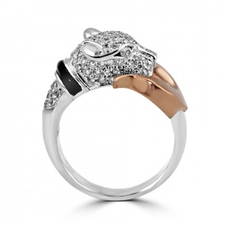 14k two-tone w/g & r/g diamond panther black enamel ring