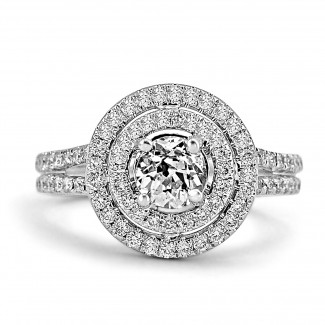 18K W/G Round-Cut Diamond Double Halo Engagement Ring Split Shank