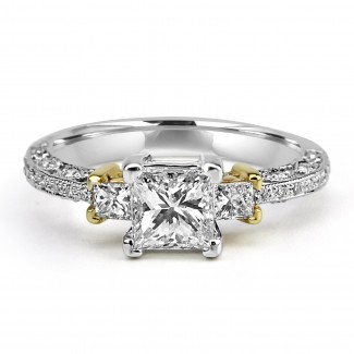 14k w/g 3-stone princess solitaire diamond engagement ring 1.50ctw