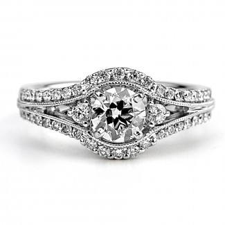 18K W/G Round-Cut Diamond and Side Stones Engagement Ring